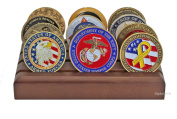 Military Challenge Coin Holder Stand Display (Walnut), CN06