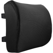 Lumbar Support Lower Back Cushion Pillow - Great Straps for Office Chair and Car - For Sciatic Nerve Pain Relief   Thick, Comfortable 100% Memory Foam   Ergonomic, Orthopaedic Design