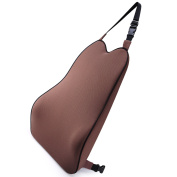 High Density Memory Foam Lumbar Support Pillow, Proper Soft Backrest Relieves Back Pain,Ideal Back Cushion for Car with Two Adjustable Straps, Brown