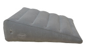 """ObboMed HR-7600 Inflatable Portable Bed Wedge Pillow with Velour Surface for Sleeping, Travel, Trip vacation -23"""" x 22"""" x(7""""~1.5""""), Grey, Horizontal Indention prevent sliding"""