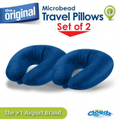 (Set of 2) Cloudz Microbead Travel Neck Pillows - Blue