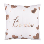 Rose Gold Be Mine Love Heart Throw Pillow Case Cushion Cover Cotton Polyester 46cm x 46cm Valentine's Day Home Decoration