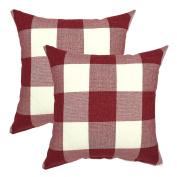 YOUR SMILE Valentines Day Retro Farmhouse Tartan Plaid Cotton Linen Decorative Throw Pillow Case Cushion Cover Pillowcase for Sofa 46cm x 46cm , Set of 2 , Red White
