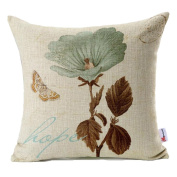 Monkeysell Lotus Leaf Butterfly Flowers Pattern Cotton Linen Throw Pillow Case Cushion Cover Home Sofa Decorative 46cm X 46cm