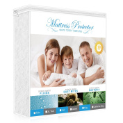 Premium Twin Mattress Protector, 100% Waterproof Hypoallergenic Mattress Cover with Cotton Terry Surface, Breathable, Vinyl Free, 10 Year Warranty Offered by Lighting Mall