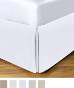 Today's Home Microfiber Bed Skirt Dust Ruffle Classic Tailored Styling 36cm Drop Queen, White
