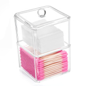 Cotton Ball and Swab Holder Organiser, HBlife Clear Acrylic Cotton Pad Container for Cotton Swabs, Q-Tips, Make Up Pads, Cosmetics and More