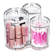 Bekith 3pc Acrylic Clear Cotton Ball and Swab Organiser
