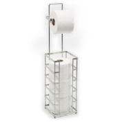 Modern Style Toilet Paper Reserve Holder with Dispenser - Beautiful Chrome Finish – Hold 4 Tissue Rolls – No Assembly Required - Heavy Gauge Wire – Free Standing Bathroom Storage Accessory