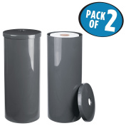 mDesign Free-Standing Toilet Paper Roll Canister for Bathroom - Pack of 2, Grey