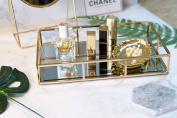 PuTwo Metal Mirrored Ornate Decorative Tray Jewellery Tray 30cm x 20cm - Champagne Gold Finish