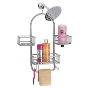 mDesign Bathroom Shower Tub Caddy Organiser Storage Centre for Soaps, Shampoos, Conditioners, Body Washes, Scrubs, Washcloths, Loofahs - Solid Steel Construction with Silver Finish
