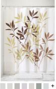 InterDesign Leaves Fabric Shower Curtain - Stall, 140cm x 200cm , Brown