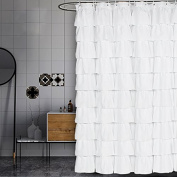 Volens White Shower Curtain Fabric/Ruffle for Bathroom,180cm Long