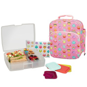 Bentology Lunch Bag and Box Set for Girls - Includes Insulated Bag with Handle, Bento Box, 5 Containers and Ice Pack - Owl