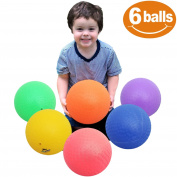 FLASH SALE | Premium 22cm Playground Balls for Kids Play (Set of 6) With 1 Hand Pump - Official Size Kickball, Dodgeball , Foursquare, HandBall, Camps and School