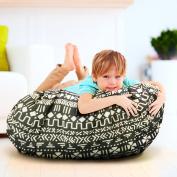 Jumbo Stuffed Animal Storage Bean Bag Chair & Portable Play Mat Bag - Extra Large 150cm Gather-N-Go Toy Organiser w/ Black Geometric Print by Kiddo Kind