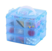 DJUNXYAN 3-Tier 18 Sections Transparent Stackable Adjustable Compartment Slot Plastic Craft Storage Box Organiser For Toy Desktop Jewellery Accessory Drawer Or Kitchen 4 Colours 3 Sizes