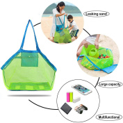 Beach Mesh Tote Bag - Large Foldable Sand Away Children Beach Toys Organiser Storage Bags,Mesh Bag tote Baby Collection Nappy, Perfect for Swim Pool & Kids Bath Shower Toys Storage Bags Packs
