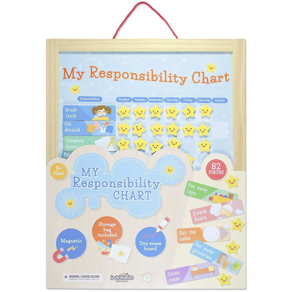 My Responsibility Chart Magnetic Dry Erase Wooden Chore Chart With Storage Bag 24 Goals And 56 Reward Stars By Imagination Generation