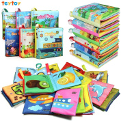 My First Soft Book,TEYTOY Nontoxic Fabric Baby Cloth Books Early Education Toys Activity Crinkle Cloth Book for Toddler, Infants and Kids Perfect for Baby Shower -Pack of 6