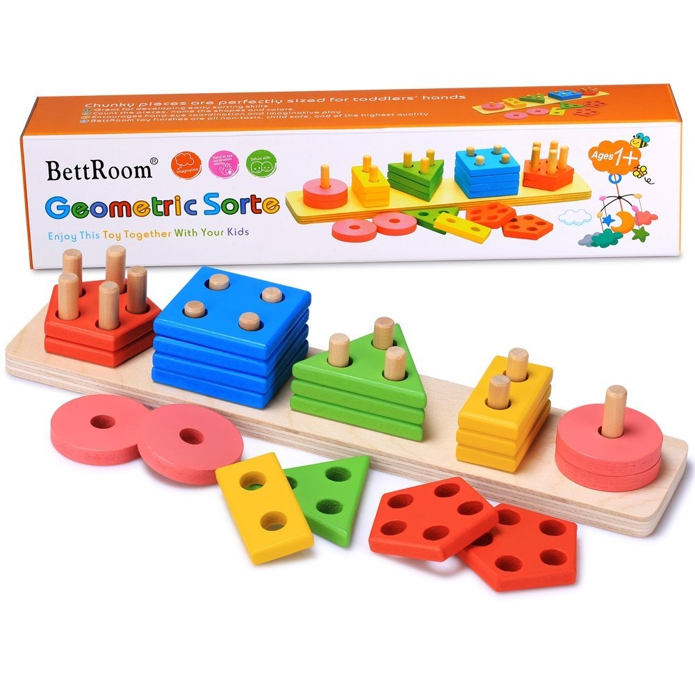 Childrens Blocks Includes 18 Shapes Play22 Baby Blocks Shape Sorter Toy C...