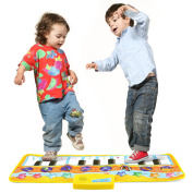 Zooawa Musical Piano Mat, Electronic Keyboard Instrumental Dance Blanket Toy with Play - Record - Playback - Demo Modes for Kids - Colourful
