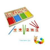 ZZWPY Number Cards and Counting Sticks, Counting Rods Baby Toys, Intelligence Stick Wooden Toys, Educational Toys Wooden Toys Include Extra Educational Toys Gift
