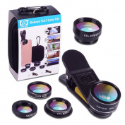 Apexel 5 in 1 HD Camera Lens Kit 198°Fisheye Lens/0.63x Wide Angle/15x Macro Lens/2X Telephoto Lens/CPL Lens for iPhone 6/6s Plus SE Samsung Galaxy S7/S7 Edge S6/S6 Edge and most Smartphone