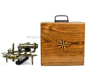 Large 18cm Nautical Maritime Solid Brass Functional Sextant With Elegant 23cm Rosewood Grain-Rich Storage Case Box | Educational Kids Tool & Pirate's Gifts Decor | Nagina International