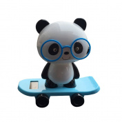 Snowfoller Panda Wear Glasses in Skateboard Swinging,Solar Powered Dancing Panda Animal Swinging Animated Bobble Dancer Toy Car Decor