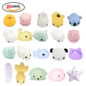 20Pcs Squishy Toy, LEEHUR Party Favour Mini Cute Squeeze Funny Toy Soft Stress and Anxiety Relief Toys Kawaii Phone Case DIY Decoration Rabbit Duckling Cat Pig Tiger for Kids/Adults Random Colour