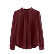 Office Chiffon Shirts Women Long Sleeves Tops Shirts O-Neck Spring Blouse Hemlock