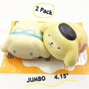 VivantMall 2 Pcs - Pack Kids Adults Squishy Toys Jumbo 11cm Kawaii Soft Slow Rising Squeeze Toy Scented With Good Smell Animal Lovely Dog Doggy Charm Gift for Stress Relief and Time Killing