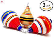 NEW Alondra's Imports (TM) Elegantly Handcrafted, Classic Trompo Spin Tops from Mexico (Trompos De Mexico De Madera, Trompos Juguetes, Trompos Mexicanos) - Assorted Set of 3
