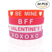 Cualfec 24 PCS Valentine's Day Gift Silicone Bracelets Valentine's Day Party Favour Bulk Toys for Kids and Adults - 4 Colours