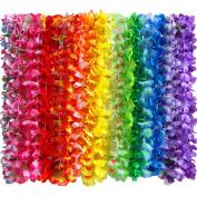 36 Counts Hawaiian Leis Necklace Tropical Luau Hawaii Silk Flower Lei Theme Party Favours Wreaths Headbands Holiday Wedding Beach Birthday Decorations