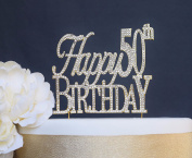 Happy 50th Birthday GOLD Cake Topper - Premium Sparkly Crystal Rhinestone Cake Topper