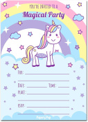 Unicorn Birthday Invitations with Envelopes (15 Count) - Kids Magical Birthday Party Invitations for Girls