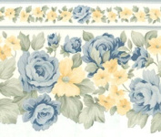 878971 Blue and Yellow Floral Die Cut Wallpaper Border