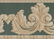 879020 Textured Architectural Leaf Scroll Wallpaper Border