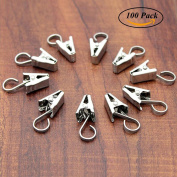 100 Pack Stainless Steel Heavy-duty Shower Curtain Clip with Hook String Party Lights Hanger Wire Holder for Photos, Bedroom, Bathroom, Home Decoration, Art Craft Dispaly