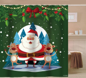 Sunlit Happy Santa Claus Waterproof Fabric Polyester Shower Curtain 180cm x 180cm -Bathroom Decor Festive Cartoon Curtain Reindeers Christmas Ornaments Print Snow and Chirstmas Tree Home Decor Red Green