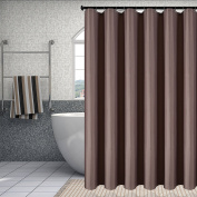 Fabric Shower Curtain Liner Waterproof Antibacterial Water Resistant Bathroom Curtain Set (Mould and Mildew Resistant), Taupe, 180cm by 180cm , includes 12 Transparency Hooks