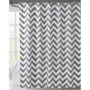LanMeng Geometric Fabric Shower Curtain, Grey Chevron Off White