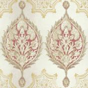 Patina Vie Henna Palm Ogee Wallpaper - Red