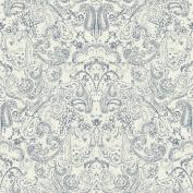 Patina Vie Distressed Paisley Wallpaper - Navy on White