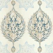 Patina Vie Henna Palm Ogee Wallpaper - Blue/White
