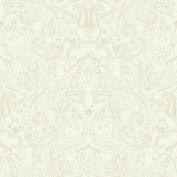 Patina Vie Distressed Paisley Wallpaper - Beige/White