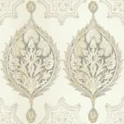 Patina Vie Henna Palm Ogee Wallpaper - Neutral